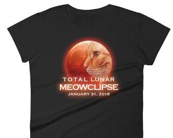 Funny Lunar Eclipse Cat T-Shirt/ Lunar Eclipse January 31, 2018 T-Shirt/ Cat Gift