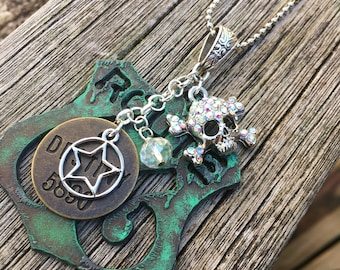 Route 66 Pendant or Keychain, Biker Babe, Skull & Crossbones, Necklace, Accessories, Leather