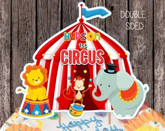 Personalized Circus Cake Topper Double Sided Centerpiece Birthday Decorations