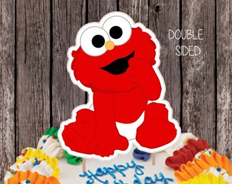 Printable Elmo Cake Topper Double Sided Centerpiece Birthday Sesame Street Decoration