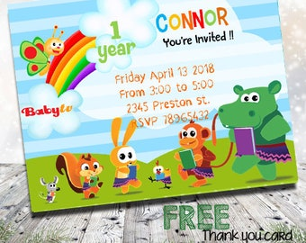 Baby TV Invites Party Tv Invitations Invitation 1st 2nd Girl Birthday