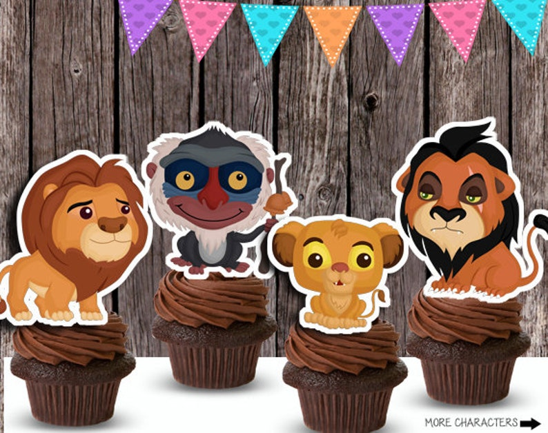 Sensational Instant Download Lion King Birthday Cupcake Toppers Or Etsy Funny Birthday Cards Online Barepcheapnameinfo