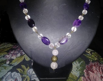 Amethyst and Rose Quartz Necklace, Handmade