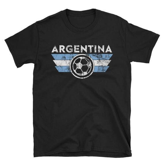 info for 8975f 25ca8 Argentina Soccer Jersey Shirt World Cup Argentinian Retro Style Street Team  Gift Idea Messi Blue White Buenos Aires Short-Sleeve Unisex T-S