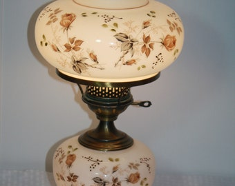 Vintage Gone with the Wind Hand Painted Huricane Lamp
