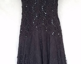 5f254832b05 Women s Vintage After Dark Black Lace Cocktail Party Dress Size 14