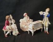 Antique Muller Volkstedt Irish Dresden Figurine Lace Musical Group Recital