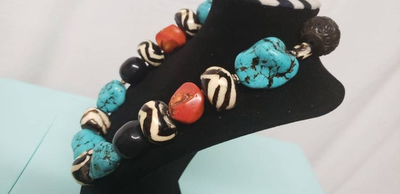 Chunky Nugget Bead Turquoise Coral Statement Neckl