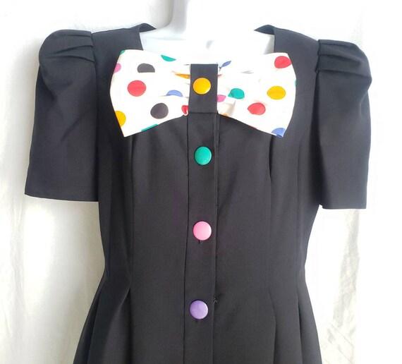 Vintage Womens Dress 80s Leslie Lucks Puff Sleeve