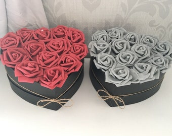 Floral heart box filled with artificial foam roses home decor wedding birthday special occasion gift fake flowers