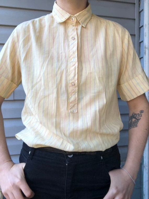 50s Buttery Yellow Striped Shirt
