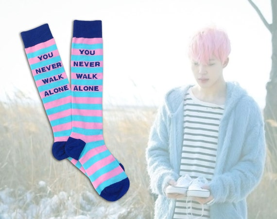 Idea Spring Alone Socks Boys Gift Line Walk Plus Bangtan Size Maknae Day Hyyh Jungkook Bts You Never Jimin And Kpop Fits Jikook TFKJcl31