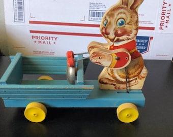 Vintage 1949-1950 Fisher Price # 508 RABBIT Pull Toy