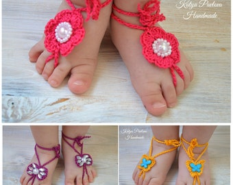 Baby girl barefoot sandals crochet Knit newborn shoes Barefoot sandals set with flower/pearls/bow/butterfly Summer sandles infant Niece gift
