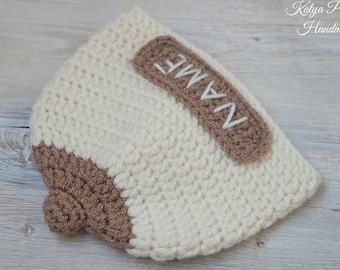 Name boob beanie Newborn baby breast feeding hat Personalized monogram  Crazy fun Baby shower gift Crochet knit boobie cap Cancer awareness af0223118902