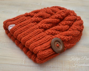 Women knit hat Winter chunky beanie girl Cable hand knit Terracotta braided  Ski urban wool hat Wife birthday xmas gift idea Soft warm beanie 353641aa8665
