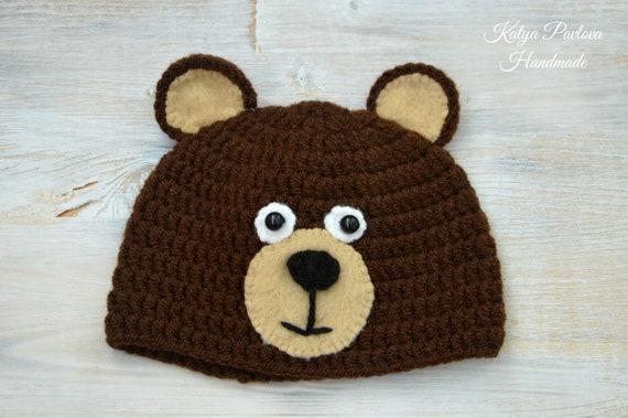 Baby bear hat crochet Newborn boy knit outfit Infant girl  cf0103db7a16