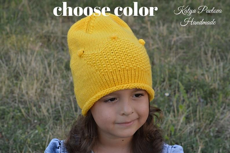 278ea26f5856c Knit girl hat Princess crown Crochet child kids teen