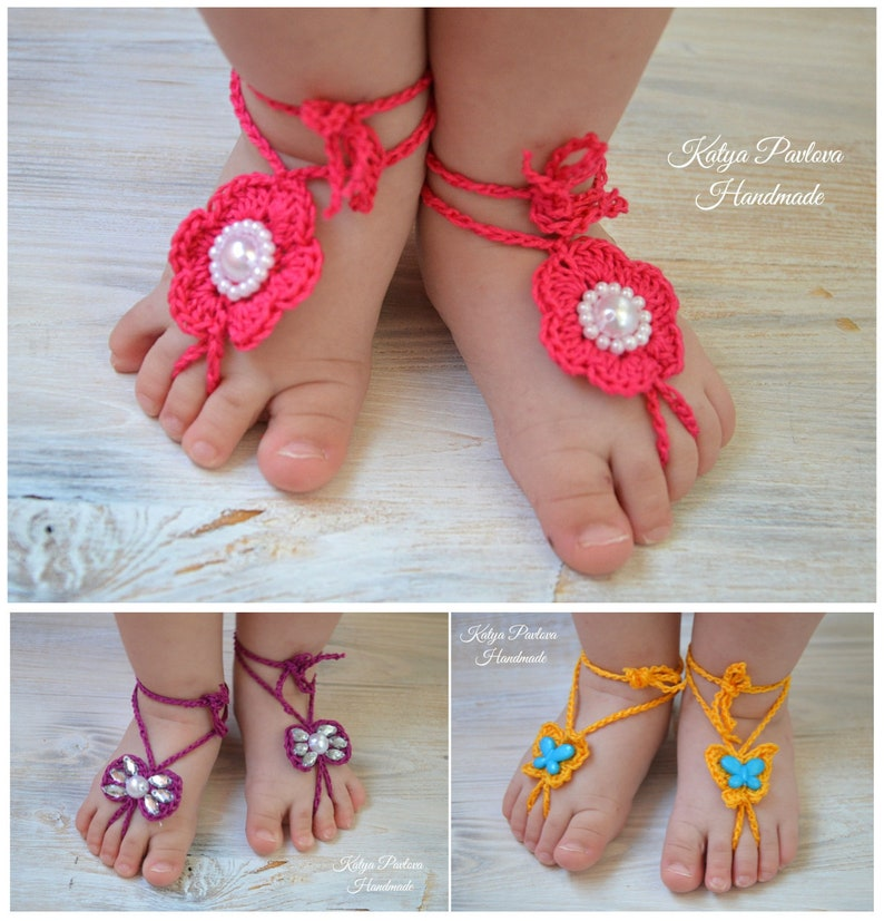 6643cc302d423 Baby girl barefoot sandals crochet Knit newborn shoes Barefoot sandals set  with flower/pearls/bow/butterfly Summer sandles infant Niece gift