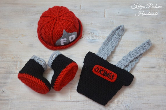 Baby Firefighter Fireman Outfit Hat Diaper Cover Crochet For Photography Props