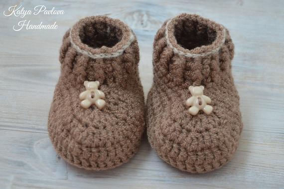 Baby bear shoes Newborn booties Fall