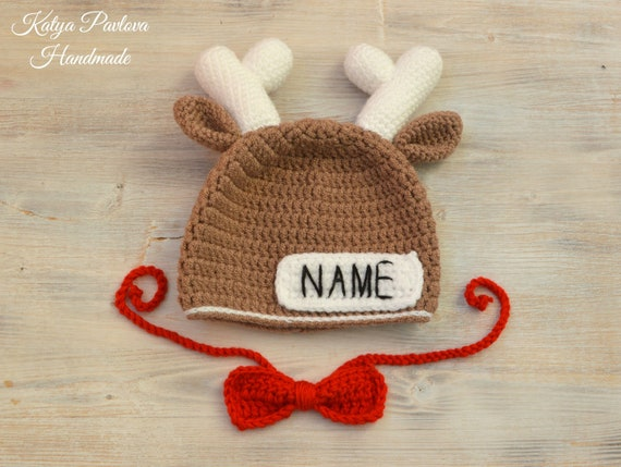 4407f01e90c6f Personalized deer hat baby boy Newborn photo prop/outfit Custom crochet hat  with name and deer antlers Baby shower gift Infant/toddler hat