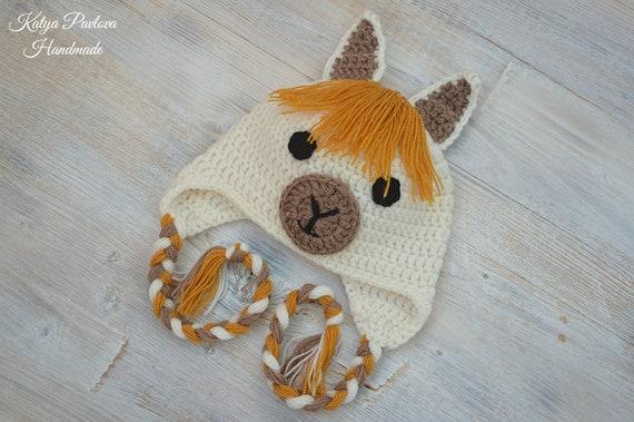 Llama kids hat Crochet Alpaca newborn photo prop Baby boy girl  be978e53aafe