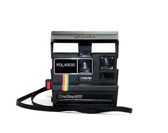a4b4208e3430a Polaroid One Step 600 - Black & Rainbow Polaroid Camera Tested and Works -  Restored - Cleaned - Polaroid 600 Black Polaroid Camera 600
