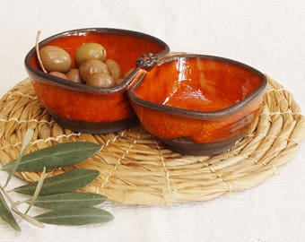 Free shipping, Olives and pits dish, Ceramic ware for serving olives, Orange dish for olives and pits,  Pottery, Serving ware, Gift idea