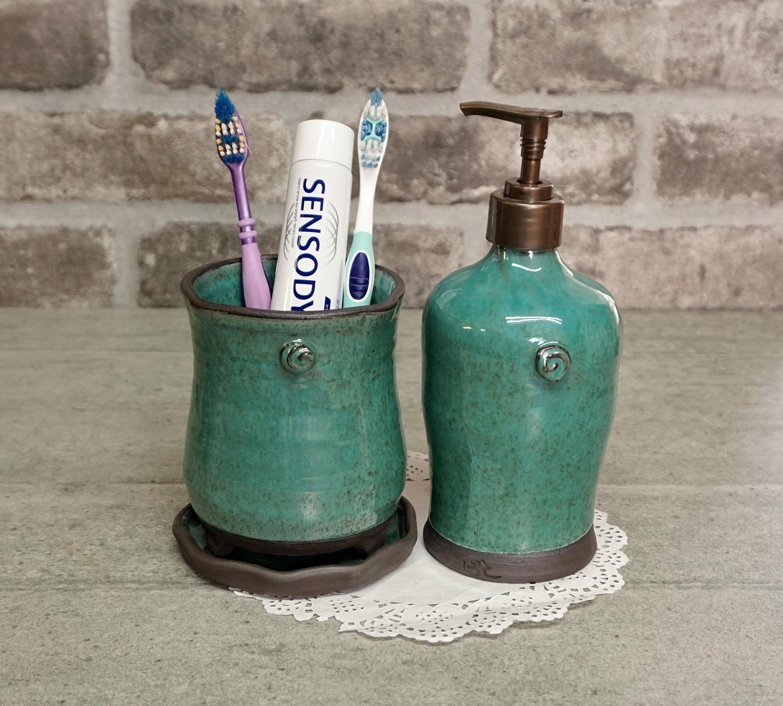 Bathroom Set Hand Soap Dispenser, Bathroom Soap Dispenser And Toothbrush Holder