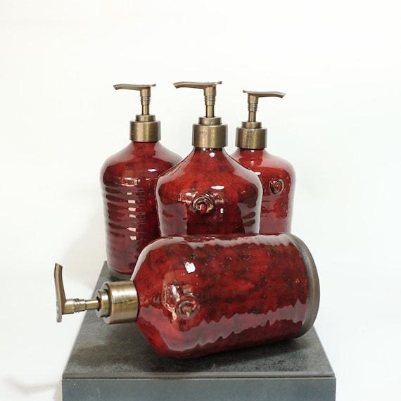 Red Soap Dispenser, Liquid Soap, Kitchen Soap Pump, Pottery, Handmade  kitchen Decor, Rustic pottery, Moms gift, Ceramics, Deep red color
