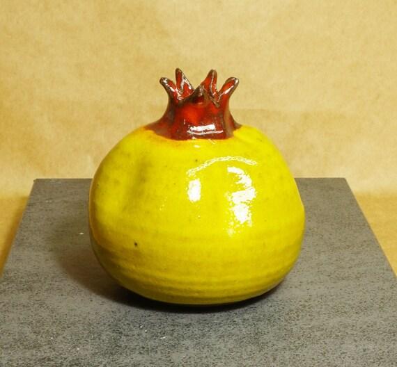 Pomegranate Vase Pottery Pomegranate Pomegranate Art Yellow Etsy