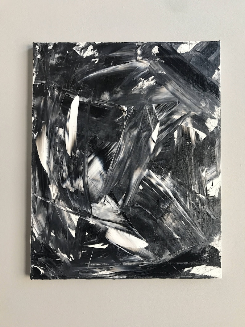 Black white and gray original abstract painting on canvas 16 x 20