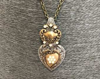 Handmade vintage silver Spoon pendant Necklace with Free matching Earrings