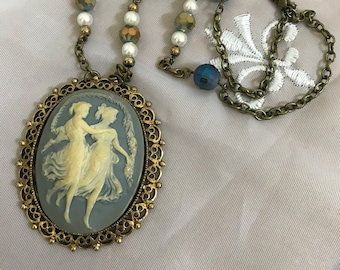 Beautiful vintage Blue and Ivory filagree dancing ladies Cameo brooch necklace