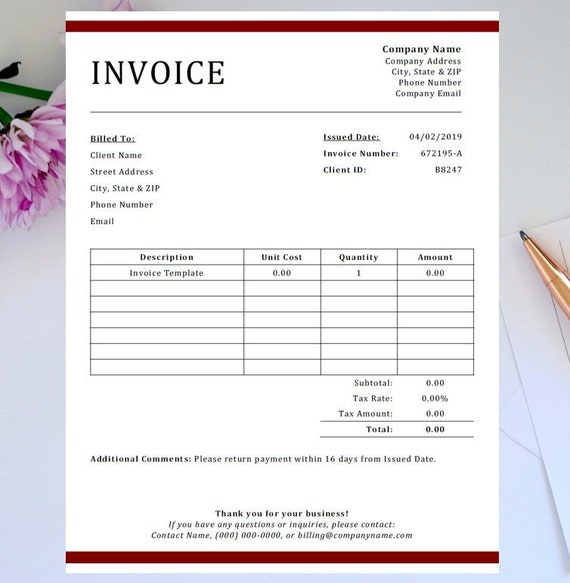Professional Invoice Template Etsy