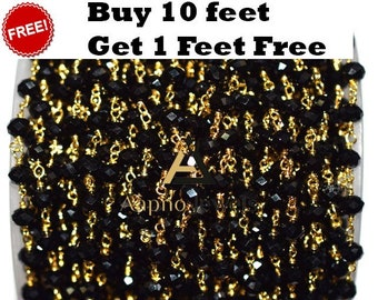 20% Off!  10 feet Natural Black Spinel Rosary Beads Chain, 24k Gold Plated Wire Wrapped Rosaries Style Necklace, 3mm - 4mm, RB-05