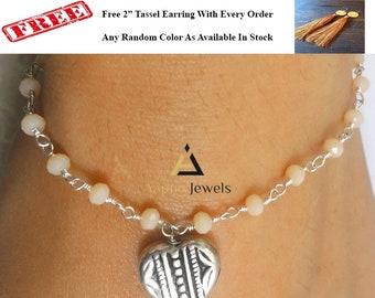 cream chalcedony beads bracelet, rosary beads bracelet, beaded bracelet, stacking dainty tiny charms bracelet, mother's day gift