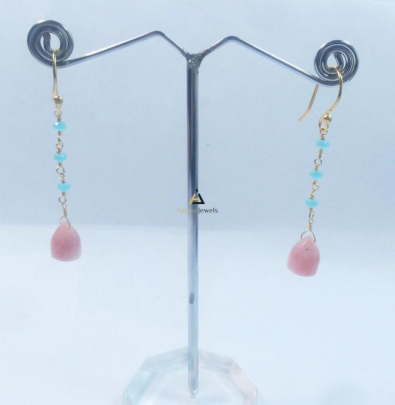 Women Fashion Earring Chalcedony and pink opal bullets beads earrings chalcedony rosary earring pink opal earring Wedding Earring