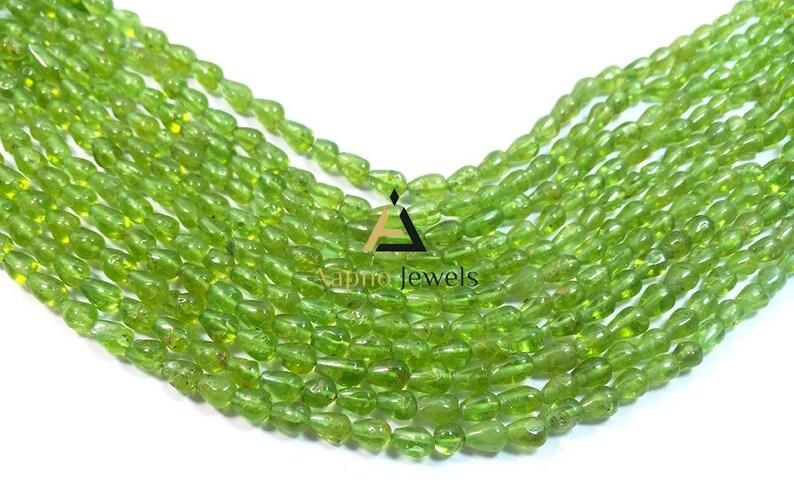 fine peridot beads | straight drill beads Peridot 5-8mm Loose Beads smooth tear drop beads 13 aaa peridot beads