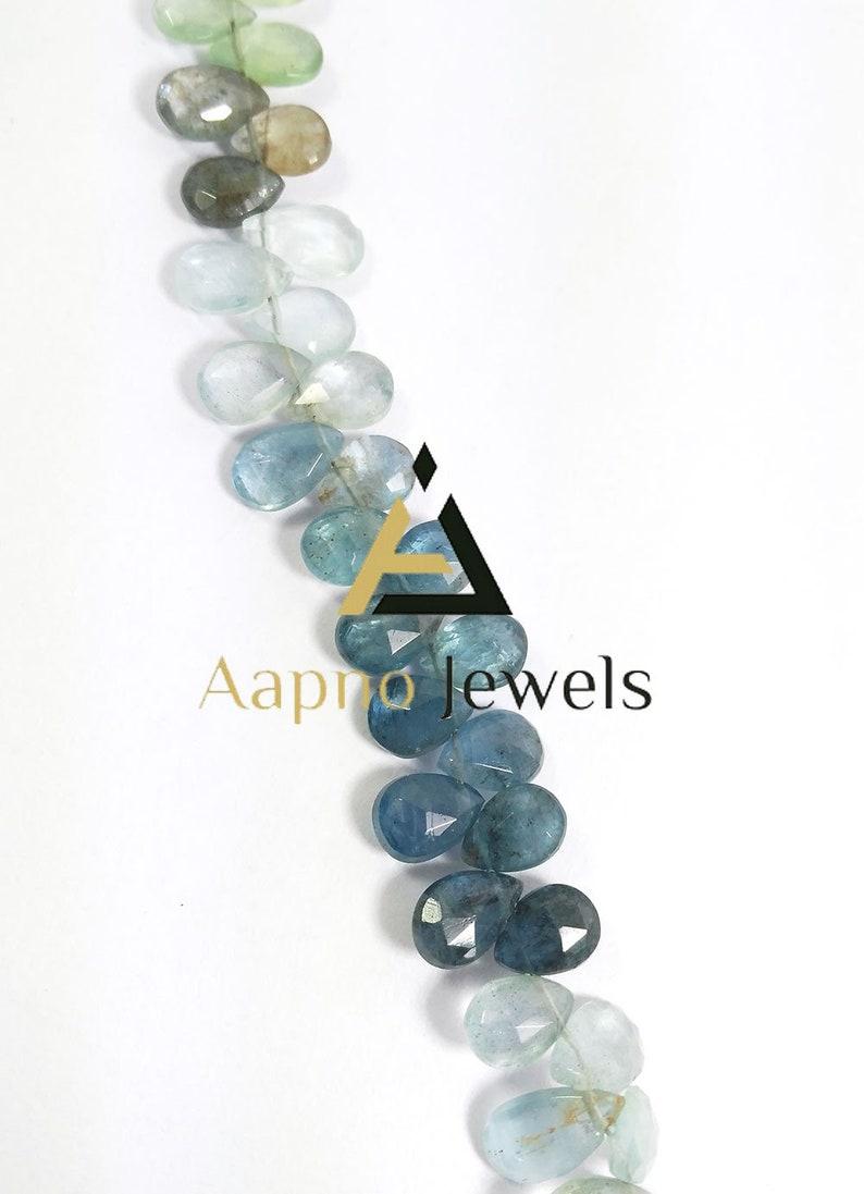 Faceted Briolette Pear Shape Briolette Moss Aquamarine 5x9mm Pear shape beads 9 strand Moss Aquamarine Briolette Natural Stone
