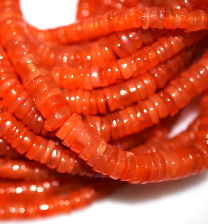 8 inch Length AAA Best Quality Natural Wholesale Price Carnelian Smooth Heishi Tyre 6-7mm Loose Beads LB-75