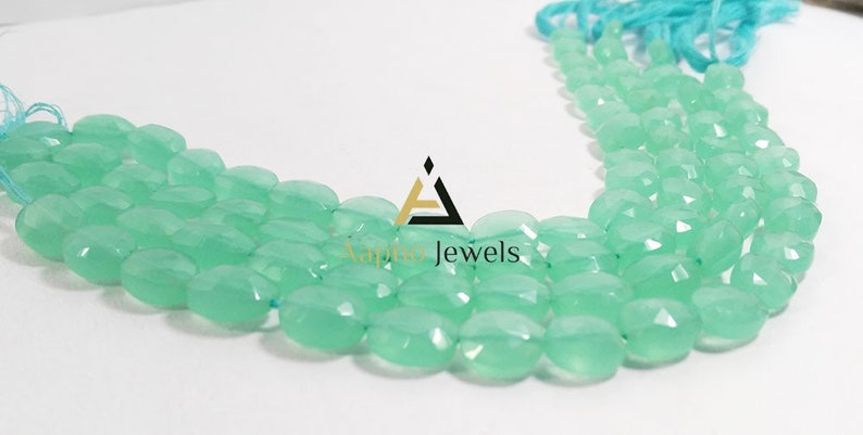 fine aqua chalcedony beads 12 Aqua chalcedony 9x10mm Loose Beads loose beads necklace faceted oval beads aaa aqua chalcedony beads