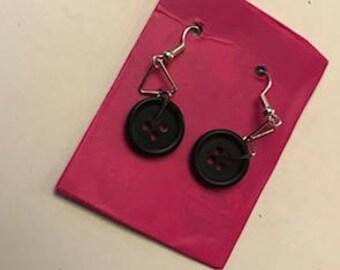 Black Vintage Button Earings