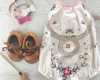 Free shipping to US,Romper vintage,Baby girl outfit,Ivory cotton romper,floral ivory romper,vintage outfit,girl romper,cotton clothing