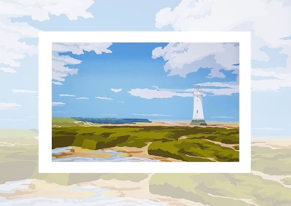 Wirral Print-New Brighton Lighthouse-Coastal Digital Painting
