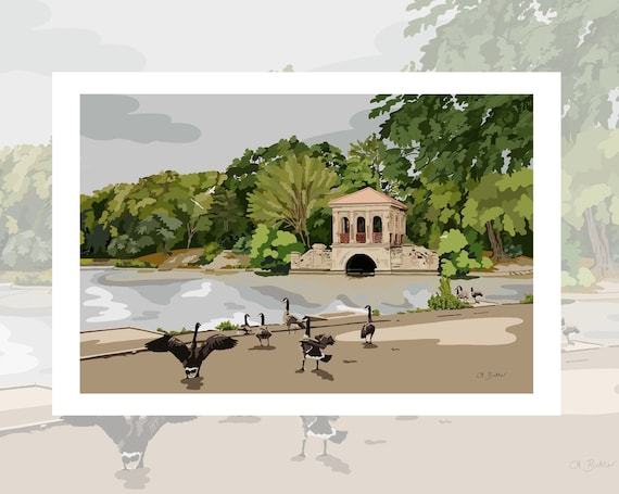 Wirral Print, Travel Poster, Birkenhead Park, The Roman Boathouse.