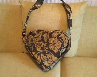 Heart bag gold and brown