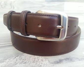 100% genuine leather belt for men. Brown