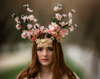 Peach blossom headpiece.  Branch headpiece, branch antler headdress, woodland or garden wedding. Two in one headpiece with jewels.
